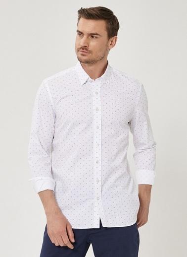 Beymen Business Slim Fit Baskılı Gömlek 4B2020200008 Beyaz
